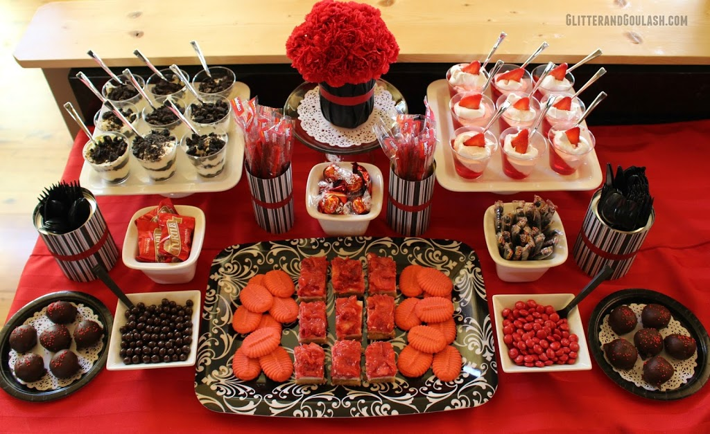 Black Amp Red Dessert Snack Table Ideas Glitter And Goulash