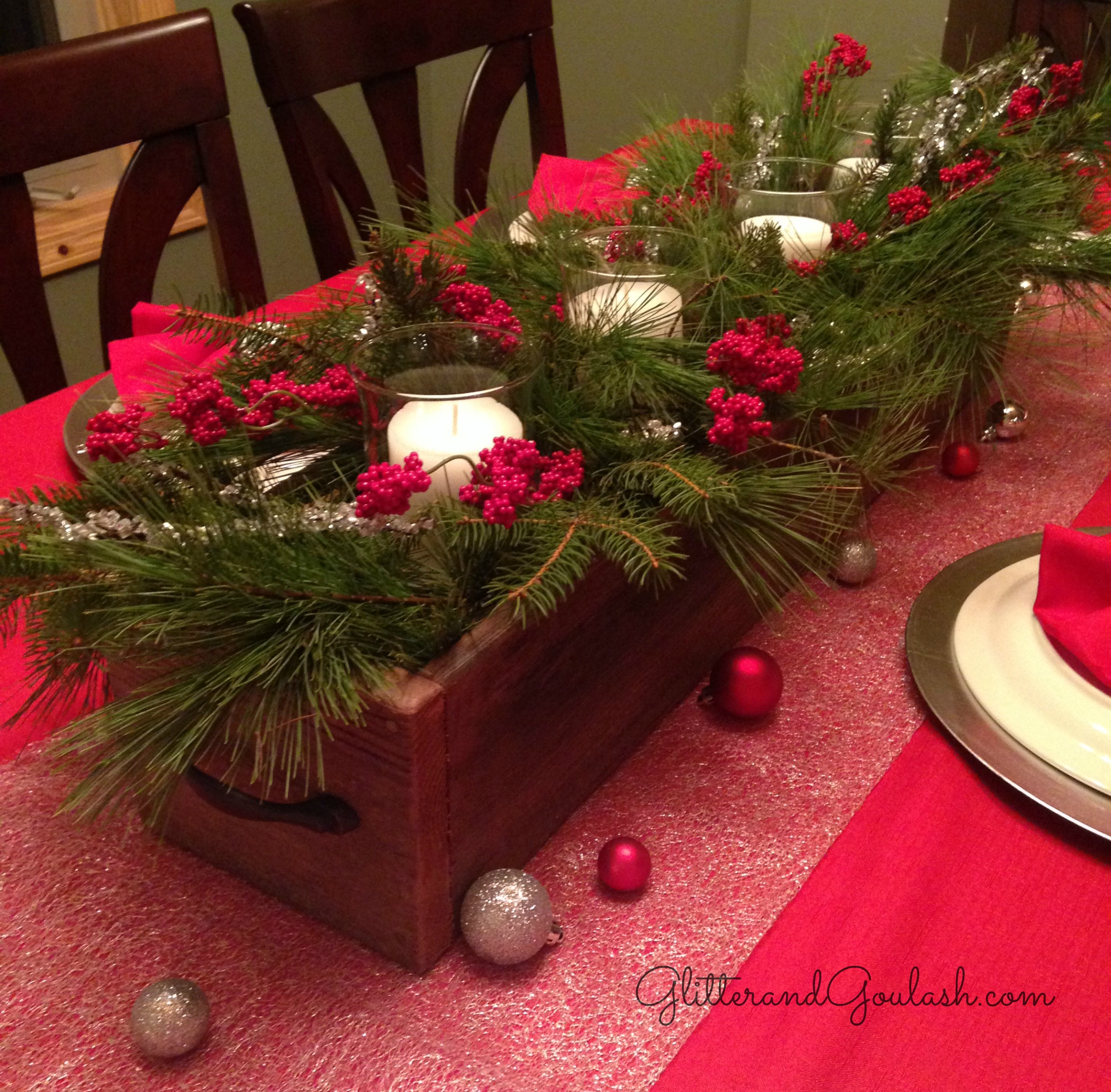 christmas barn wood box centerpiece glitter and goulash - Wooden Box Christmas Decorations