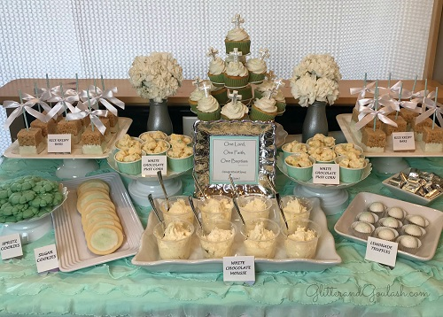 Teal, White & Silver Dessert Table for Baptism